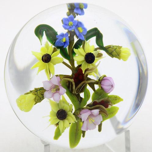 Paul Stankard Mixed Wild Flower Bouquet Art Glass Paperweight