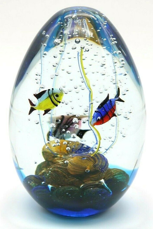 Large Murano Tropical Fish Aquarium Art Glass Paperweight Egg