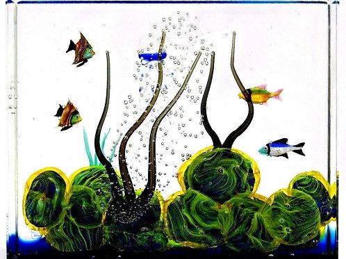 Large Rare Stefano Toso Fish & Coral Reef Aquarium Murano Art Glass Block