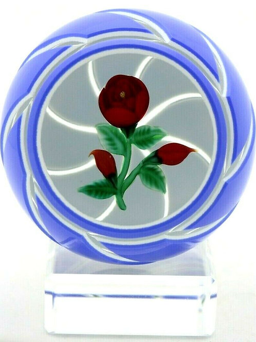 Randall Grubb Red Rose & Buds Double Overlay Art Glass Paperweight