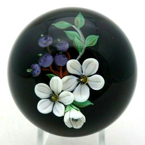 Mayauel Ward Blueberries & Blossoms Art Glass Paperweight