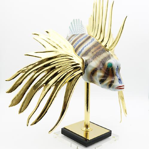 XL Oggetti Managani Porcelain Lion Fish Art Sculpture 24k Gold Dipped