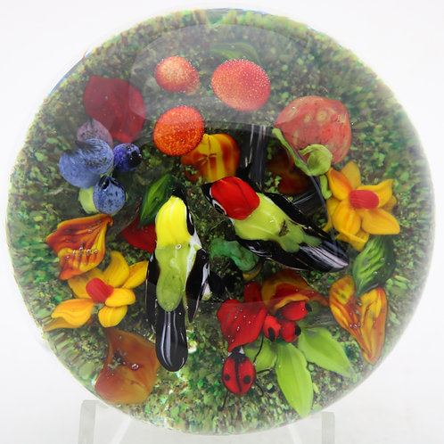 Rick Ayotte Colorful Birds & Mushrooms Art Glass Paperweight