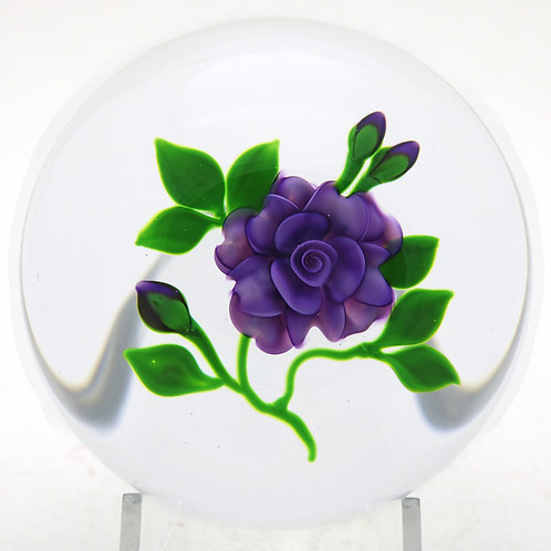 Large Victor Trabucco Purple Flower & Buds Art Glass Paperweight