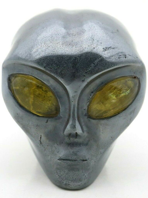 Hematite Crystal Alien Head Art Sculpture with Yellow Fluorite Eyes