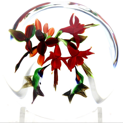 Rick Ayotte Hummingbird Duo & Fuchsia Flower Art Glass Paperweight