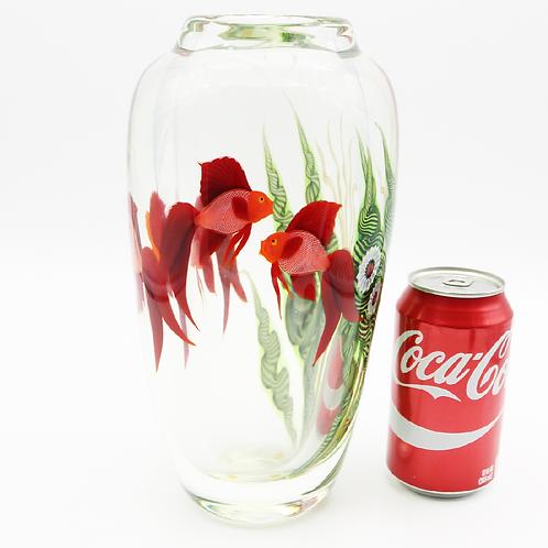XL Scott Beyers Beta Fish Aquarium Orient & Flume Art Glass Vase