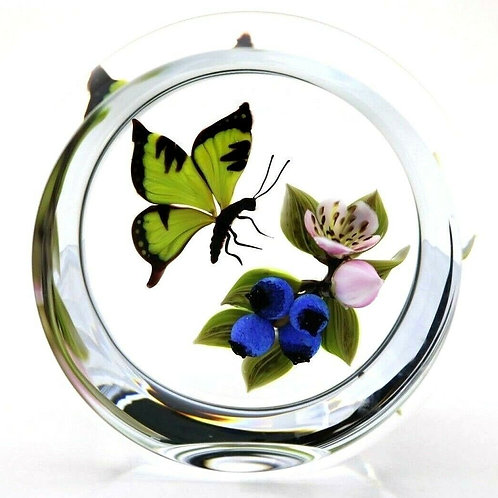 Victor Trabucco Spring Blossoms & Butterfly Art Glass Paperweight