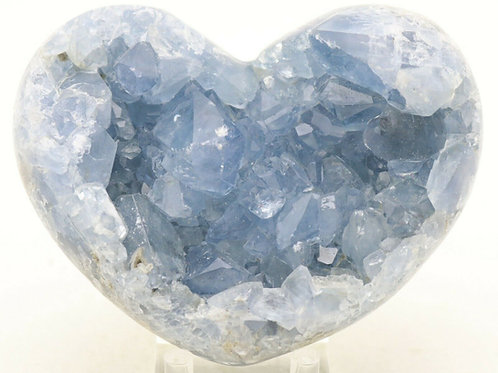 Natural Celestite Crystal Heart Mineral Specimen 3.9""