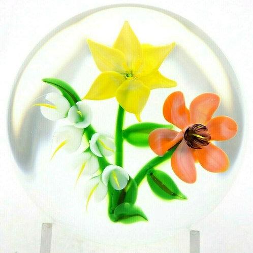 Randall Grubb Colorful Wild Flower Bouquet Art Glass Paperweight