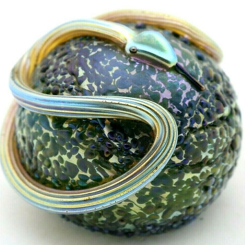 Orient & Flume Textured Iridescent Snake Art Glass Paperweight