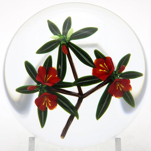 Chris Buzzini Red Botanical Flowers Art Glass Paperweight
