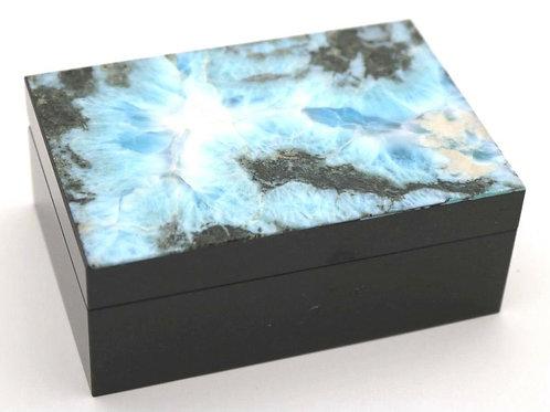 Konstantin Libman Carved & Polished Larimar Stone Jewelry Box
