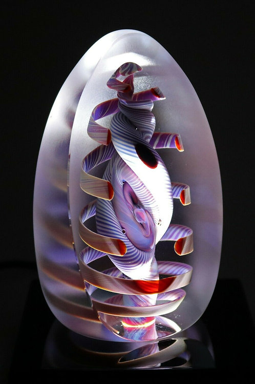 Large Henry Summa Red Spiral Abstract Inspired Art Glass Paperweight