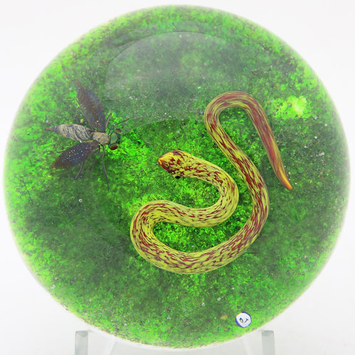 Magnum Delmo Tarsitano Snake & Wasp Art Glass Paperweight