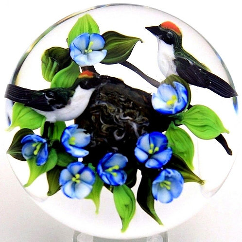 Rick Ayotte Ruby Crown Kinglet Birds Art Glass Paperweight