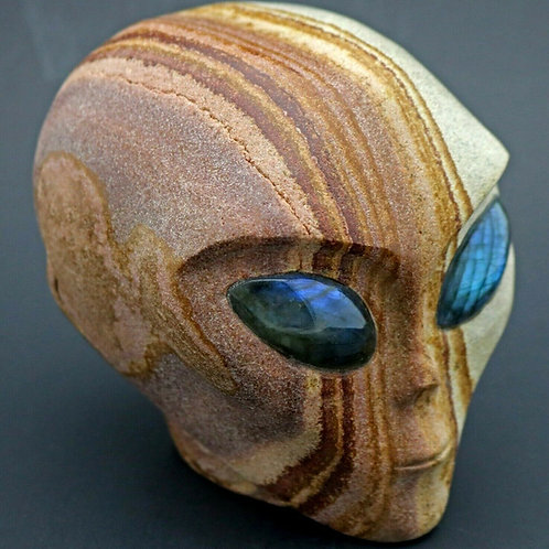 Wonderstone Jasper Alien Head Mineral Sculpture with Labradorite Eyes