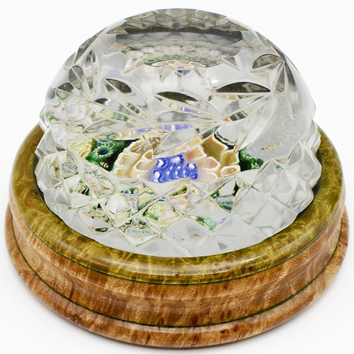 Magnum Jim Brown Honeycomb Art Glass Paperweight Burl Wood Base