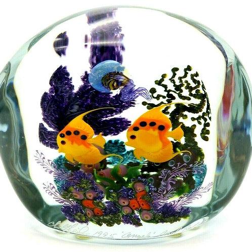 Large Chris Heilman Colorful Angelfish Aquarium Art Glass Paperweight