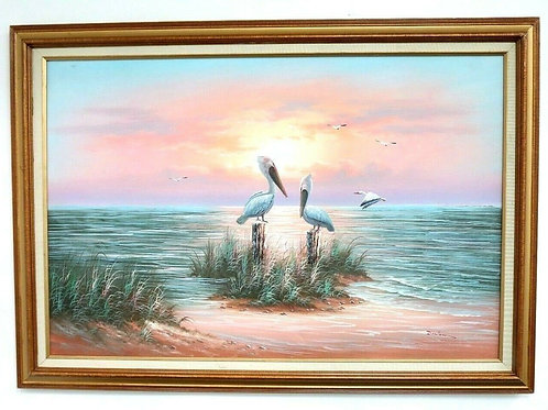 W. Dawson Seascape Ocean & Pelicans scene Oil on Canvas Framed