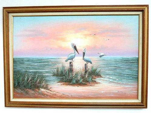 W. Dawson Seascape Ocean & Pelicans scene Oil on Canvas Framed