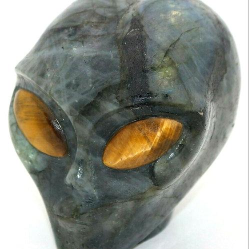 Labradorite Crystal Alien Head Art Sculpture Tiger Eye Gemstone Eyes