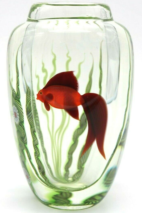 Orient & Flume Red Betta Fish Aquarium Art Glass Vase