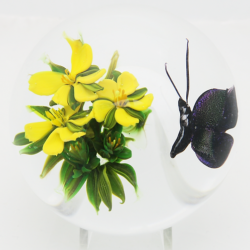 Melissa Ayotte Yellow Flowers Floating Butterfly Art Glass Paperweight