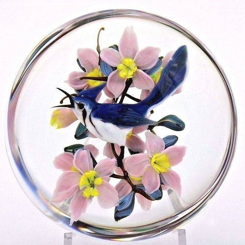 Rick Ayotte Blue Jay and Pink Flowers Art Glass Paperweights