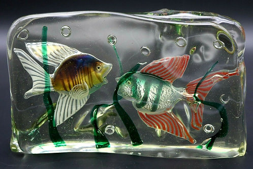Large Murano Colorful Fish Aquarium Art Glass Sculpture with Light Base