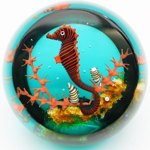 William Manson Caithness Seahorse Artist Proof Art Glass Paperweight