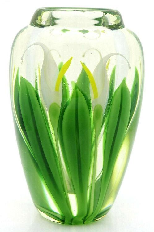 Orient & Flume White Calla Lily Garden Art Glass Vase