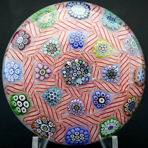 Peter McDougall Colorful Millefioir Canes Art Glass Paperweight