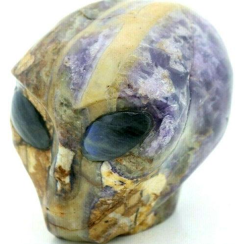 Amethyst Crystal Alien Head Art Sculpture with Labradorite Gemstone Eyes