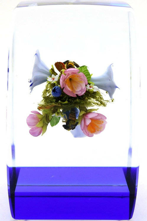 Paul Stankard Wild Flowers & Bees Art Glass Paperweight Block