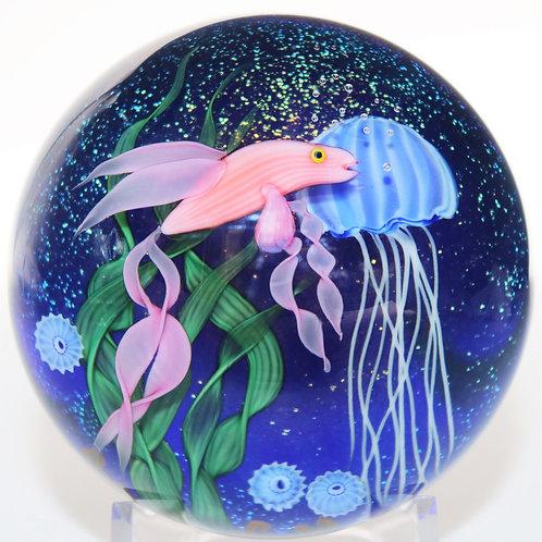 Lundberg Studio Fish Aquarium Jellyfish Art Glass Paperweight