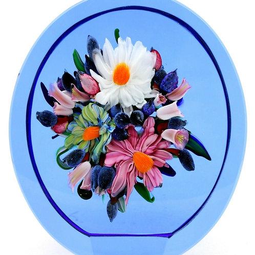 """Wonderful Rick Ayotte Flower Bpuquet Art Glass Paperweight Sculpture 5.8"""""""