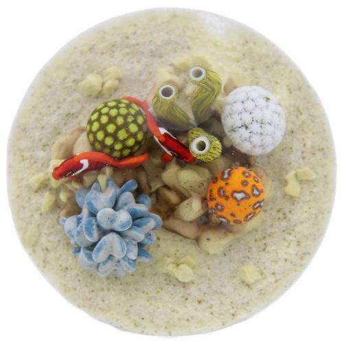 LG Gordon Smith Coral Clown Fish Aquarium Art Glass Paperweight