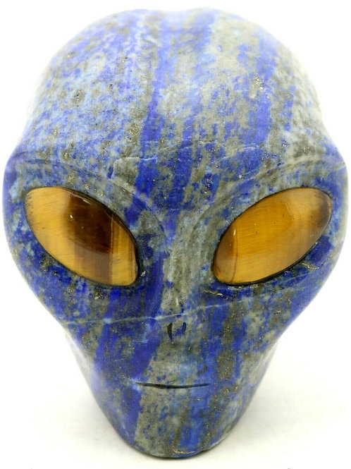 Lapis Lazuli Art Sculpture Alien Head with Tiger Eye Gemstone Eyes