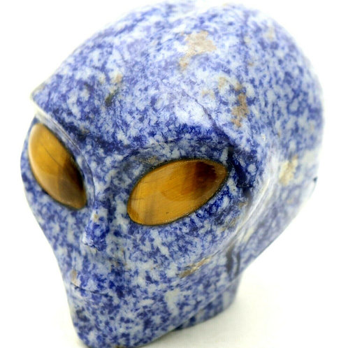 Sodalite Art Sculpture Alien Head with Tiger Eye Gemstone Eyes