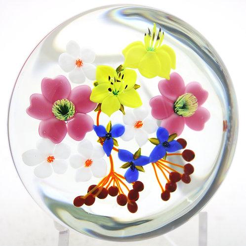 Paul Stankard Artist's Proof Bouquet of Wild Flowers Art Glass Paperweight