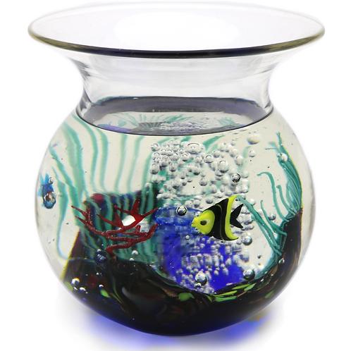 Murano Aquarium Fish Jellyfish Bowl Art Glass Sculpture Elio Raffaeli
