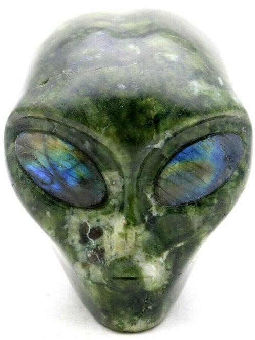 Picasso Jasper Art Sculpture Alien Head with Labradorite Gemstone Eyes