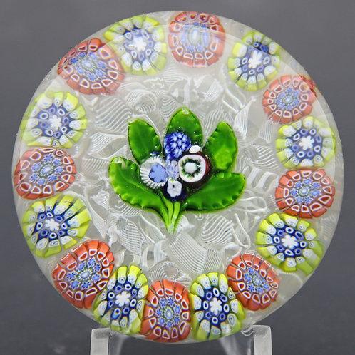 Antique Saint Louis Nosegay & Millefiori Canes Art Glass Paperweight