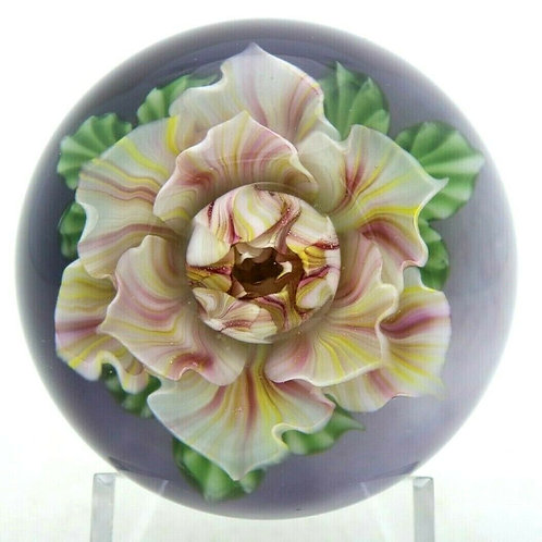 Lundberg Studios & Daniel Salazar Colorful Blooming Flower Art Glass Paperweight