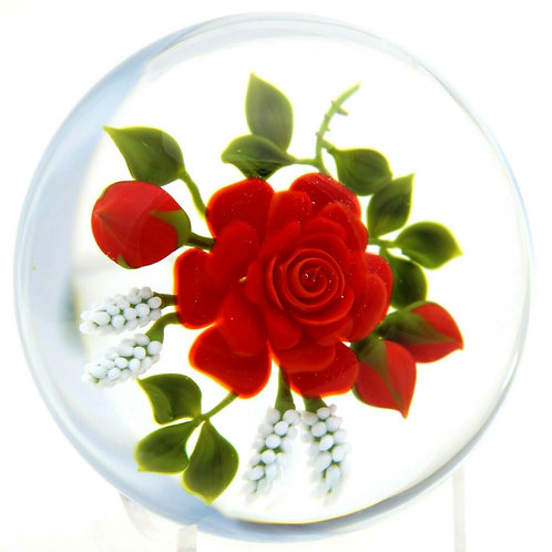Victor Trabucco Blossoming Red Rose Art Glass Paperweight