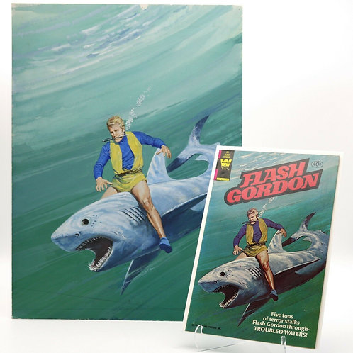 "Rare Flash Gordon 1980 Original ""Troubled Waters"" Cover Painting & Comic #30"
