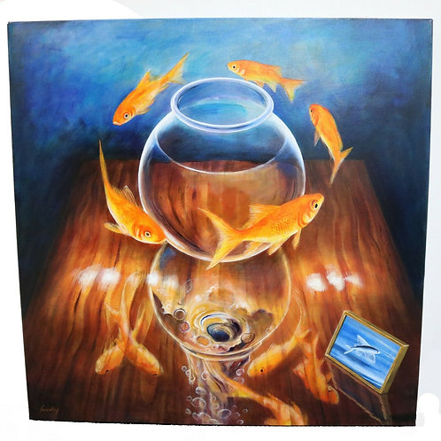 "Large Daniel Loveday Surreal ""Goldfish IV"" Acrylic On Canvas Painting"