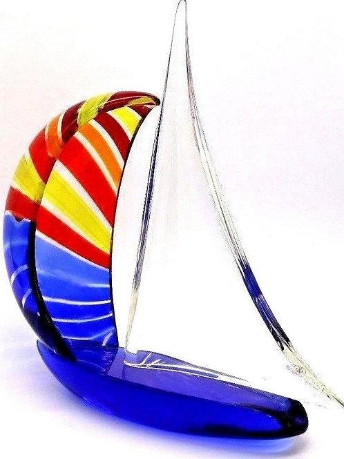 Large Elio Raffaeli Sailboat w/Spinnaker Sail Murano Art Glass Sculpture