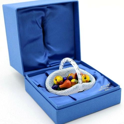 Saint Louis Latticino Fruit Basket Art Glass Paperweight in Box
